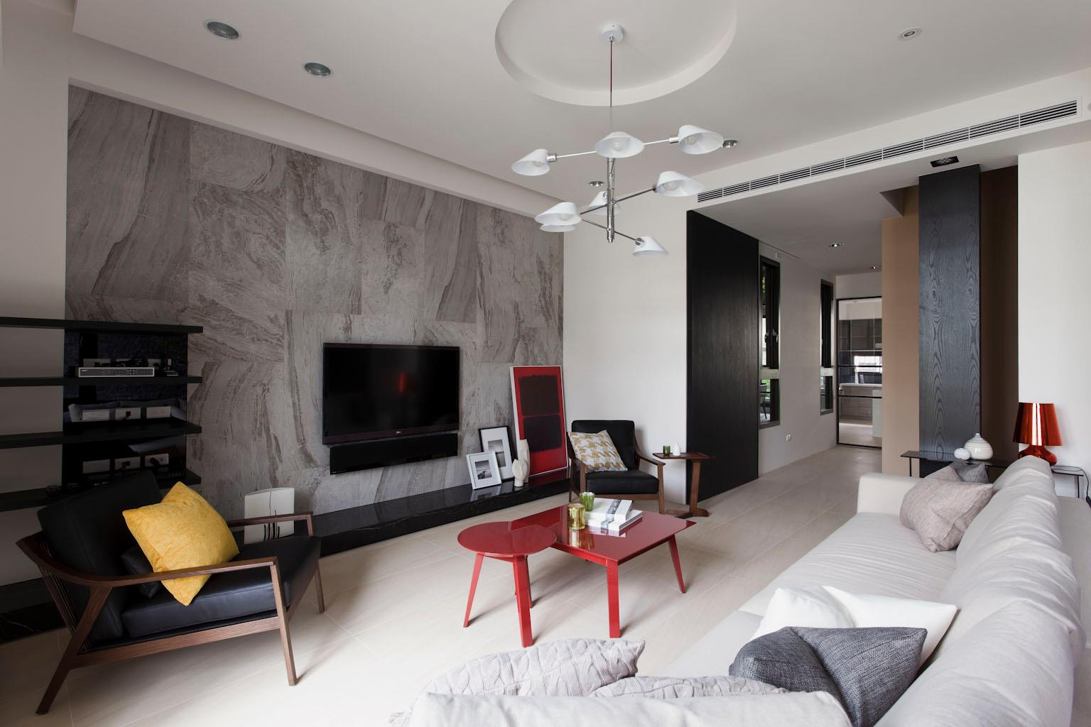Red White Living Room - Some stunningly beautiful examples of modern asian minimalistic decor