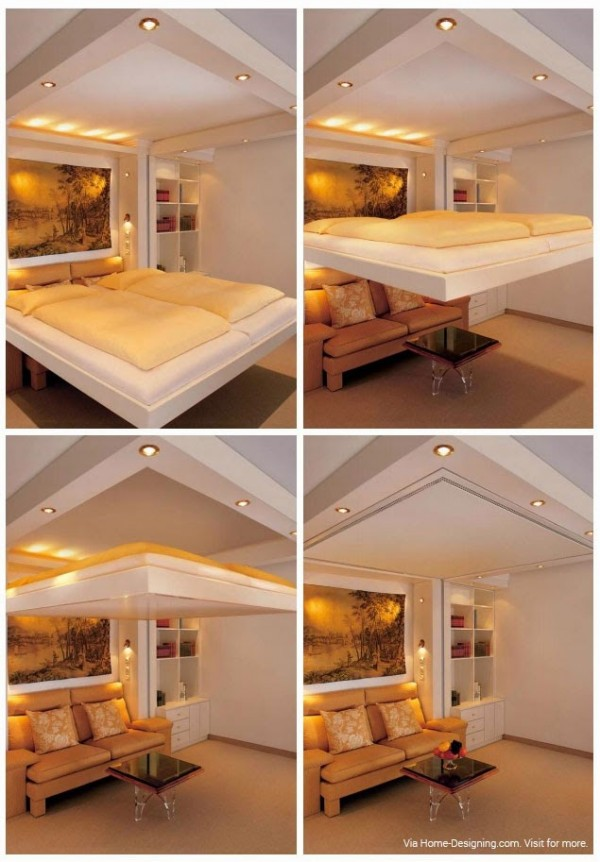 The ultimate in luxury hideaway beds has got to be this elevating design...