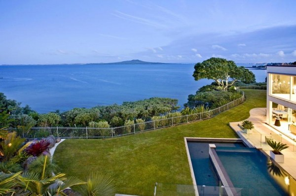 Rangitoto Island forms the dreamy centerpiece of a sweeping view.