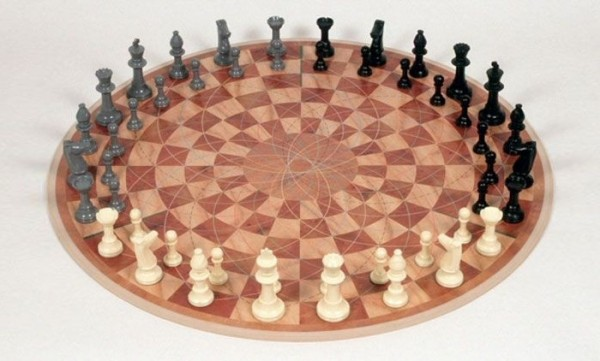 A round three-player chess set adds a new twist to the original game.