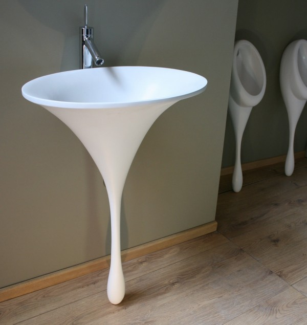 This organic form is the solid resin 'spoon sink'–the sister product the award winning spoon urinal–which mimics the shape of a single teardrop.