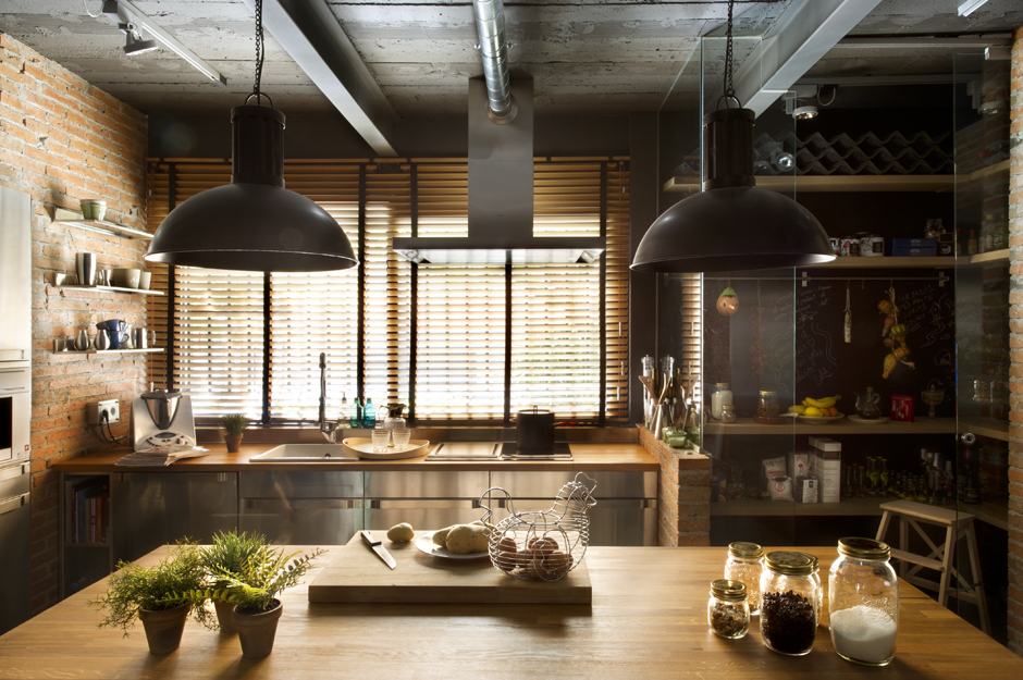 Industrial home with interior planting and transparent walls Industrial design kitchen ideas