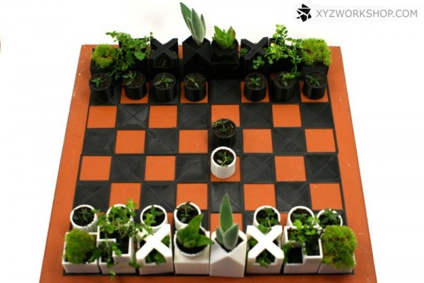 An adorable 3D printed chess set that acts as tiny herb planters.