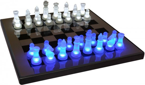 Unique LED chess set, with pieces that glow when placed upon the board.