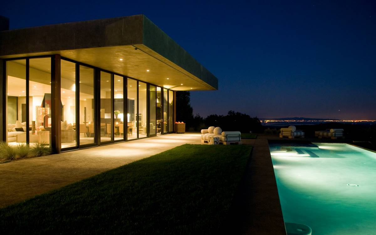 Pool Lighting - A serene california wine country home