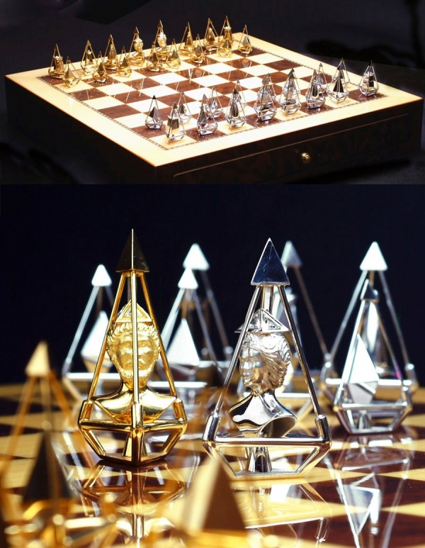 This more recent chess set design by Charles Hollander has been valued at 5 million dollars. It is made out of gold and diamonds, and features king and queen cameos moulded into the precious metal.