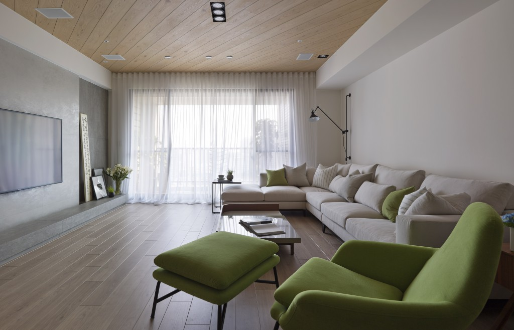 Green Cream Living Room Interior Design Ideas