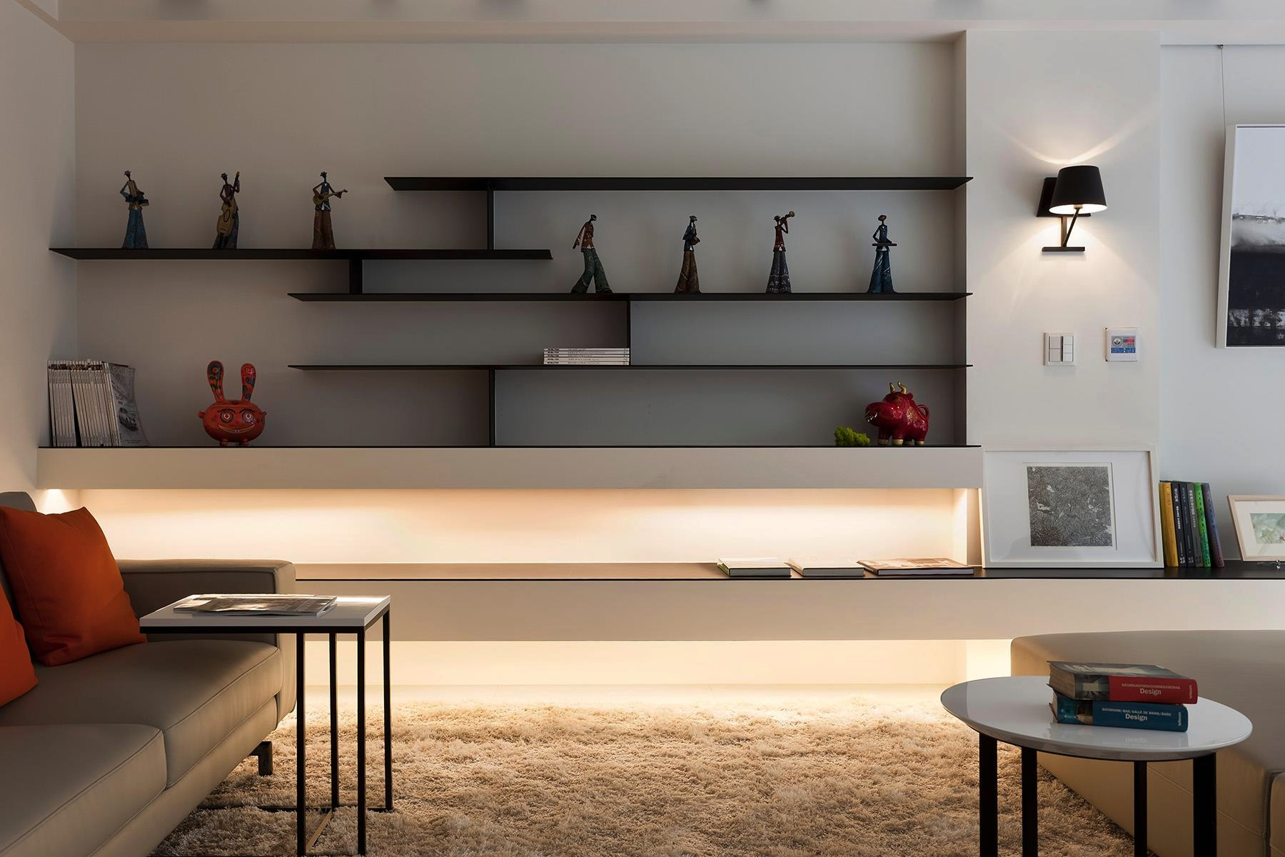 Some stunningly beautiful examples of modern asian for Living room shelves