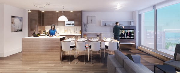The same modest kitchen-diner can then expand vastly to comfortably accommodate a large dinner party, offering a very generous eight-seat setting.