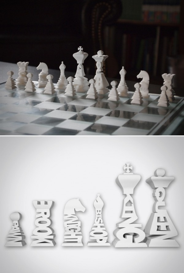 A typographic chess set would please graphic designers and the like in their home studios.