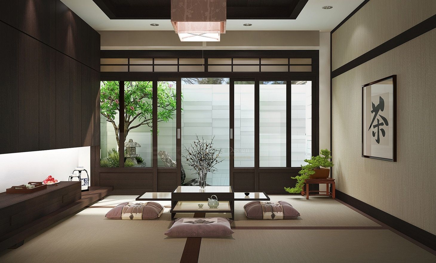 Zen inspired interior design for Asian home decoration