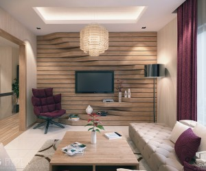 The extruded sections of this wooden feature wall are both design and function, becoming shelf space as they swell at the lower half of the wall.