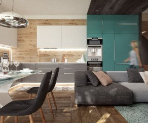 In the kitchen, a tall bank of bright turquoise units have been added to a white and gray cabinet combination, with striking results. In the foreground, we see that the lounge sofa also explores an interesting color contrast within its modules.