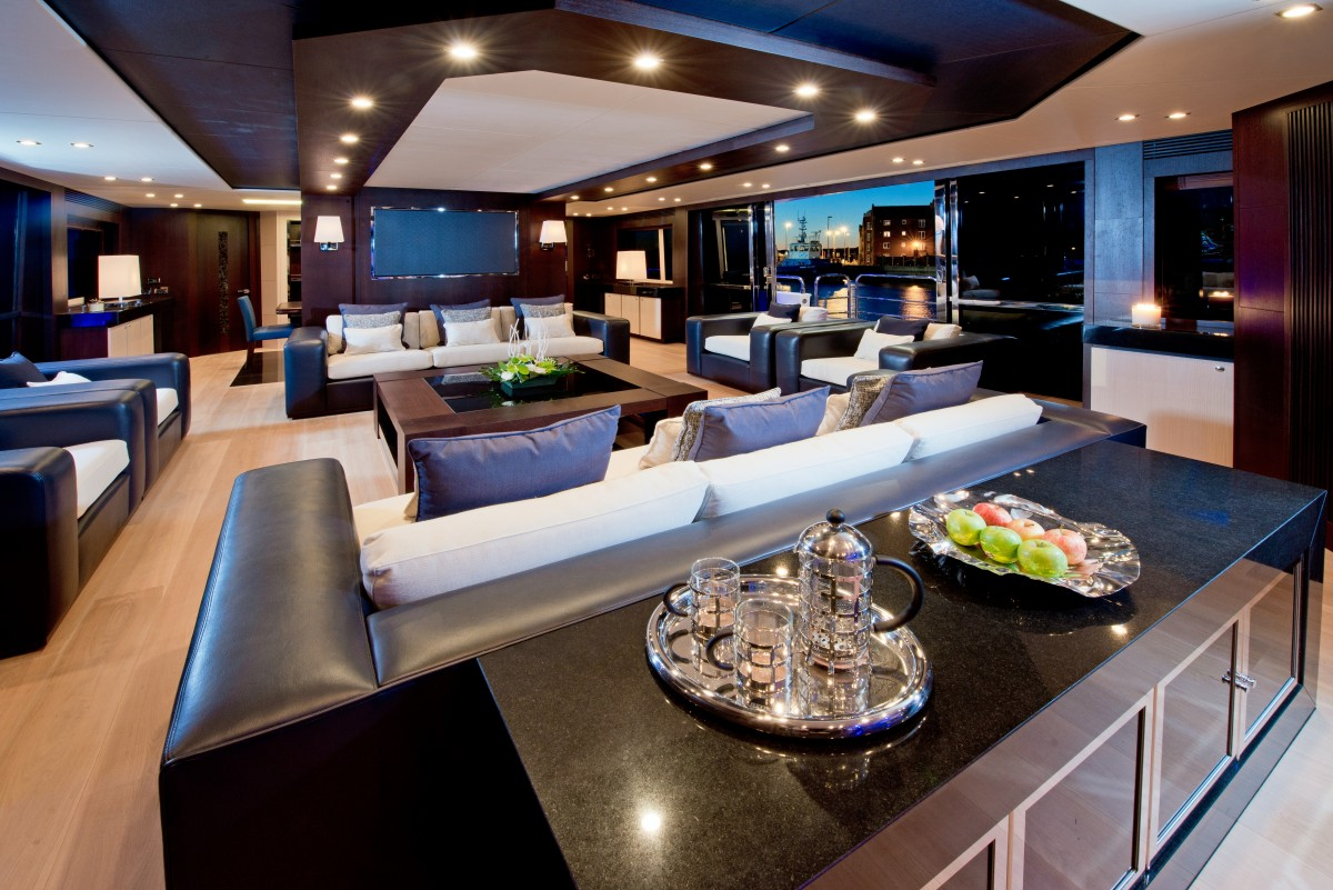 Leather Sofas - Luxury yacht interior design