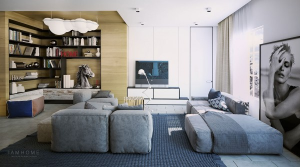 A low level modular sofa gives the living room a laid-back feel, and statement items such as the light-cloud Nemo Nuvola over the library section, the anglepoise standing lamp at the sofa, and the casually floor situated large photography piece, all come together to give this home a young image.