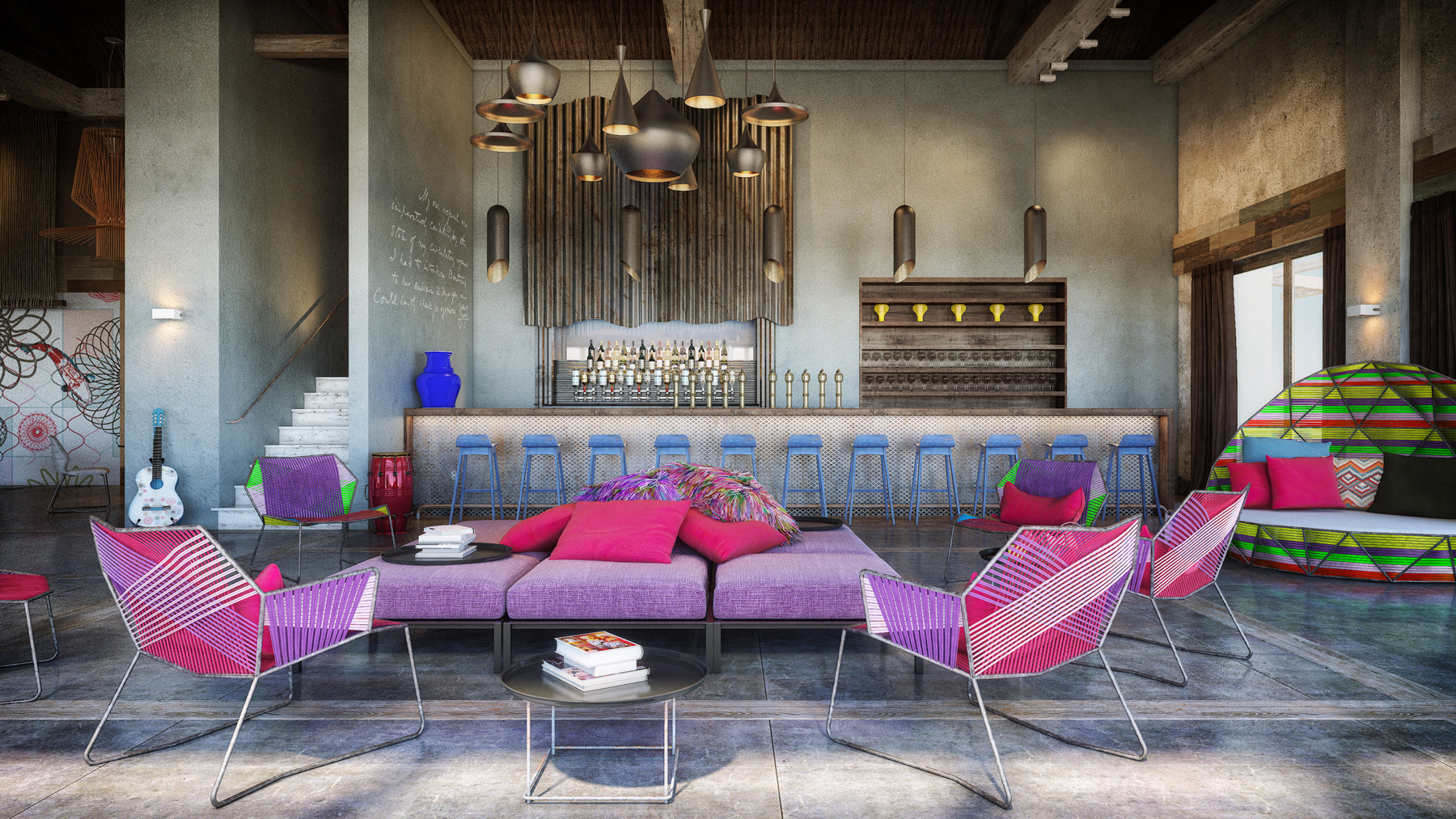 Colorful exuberant interior design inspiration from w for Design en interior