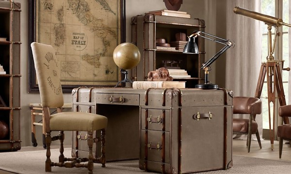 Another travel inspired desk design, this one resembles old travel trunks.