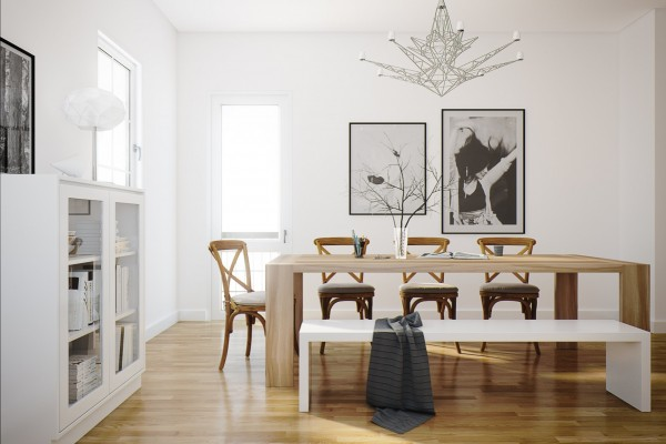 A simple dining bench on one side declutters the look of a dining suite.