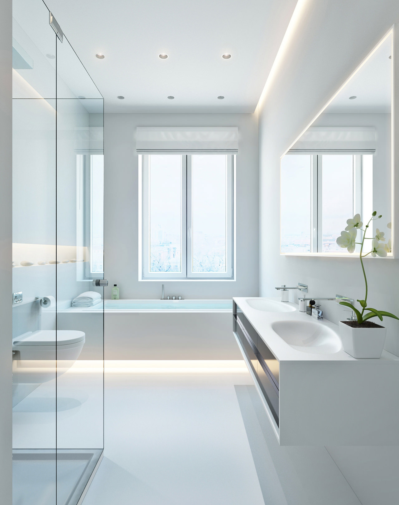 Modern white bathroom  Interior Design Ideas.