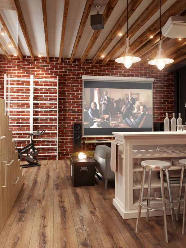 The wood-beamed ceilings work great with the red brick walls and industrial furniture elements.