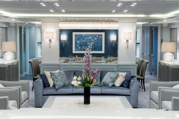 It's even possible for buyers of this yacht to work with the designers in order to create a more personalized interior decor scheme, like the serene powder blue vision above.