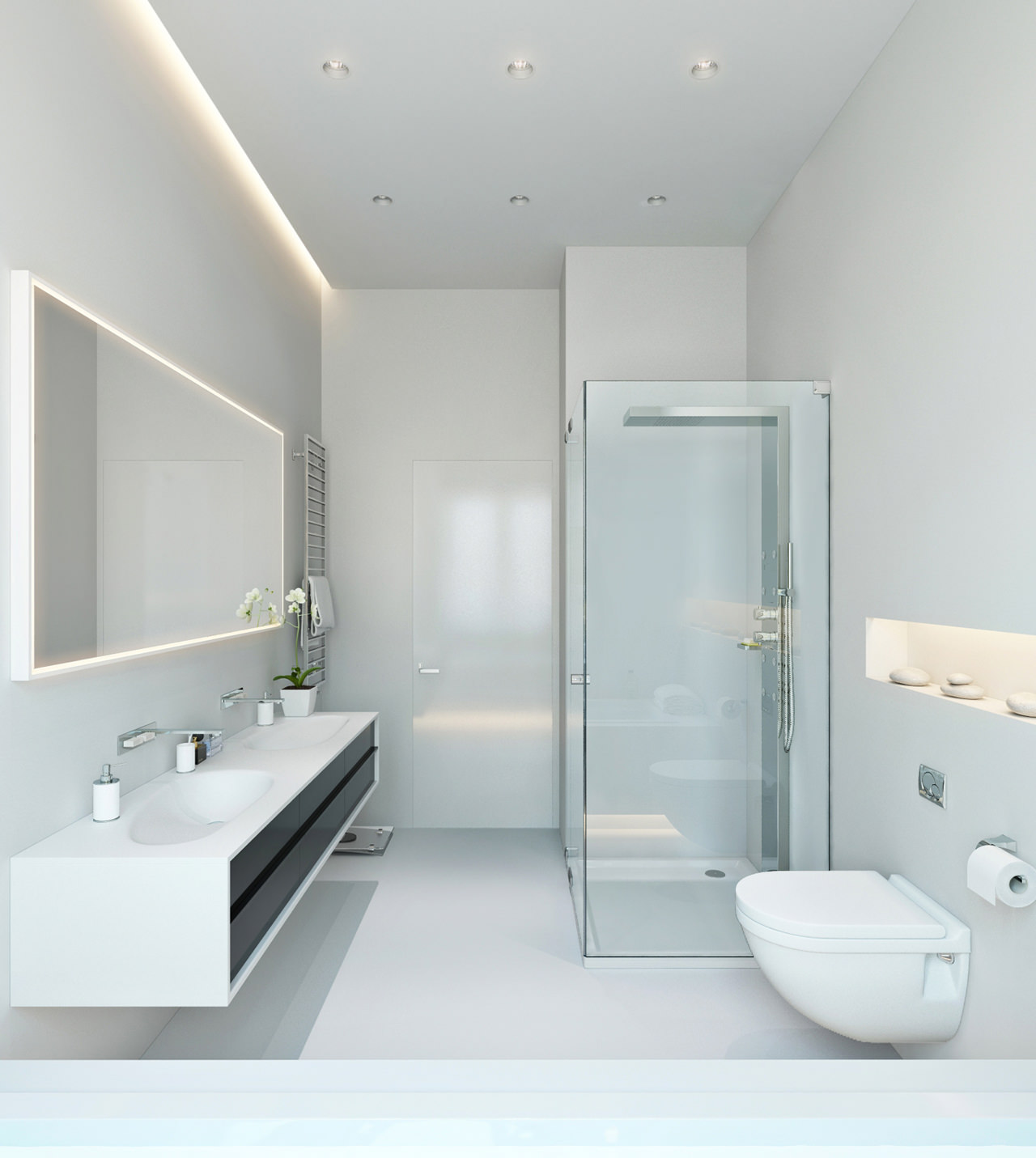 Three apartments with extra special lighting schemes for Eclairage salle de bain led