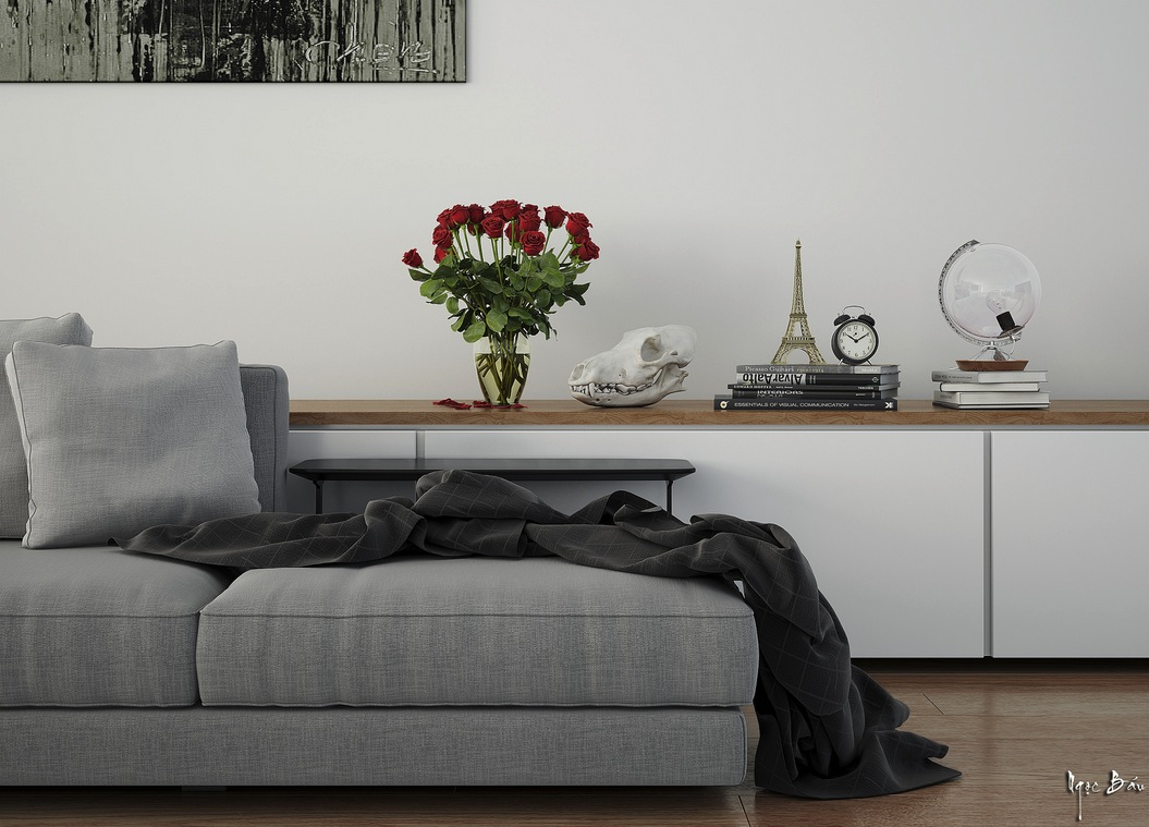 Light Gray Sofa - Interiors with natural and rustic accents