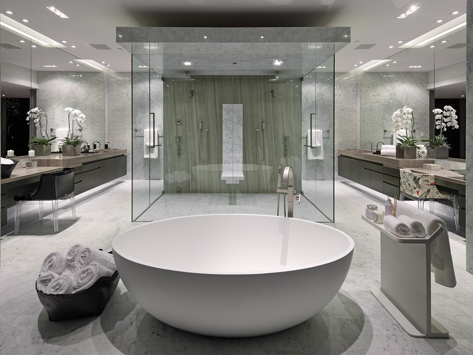 Home on celebrity studded oriole way for Huge master bathroom