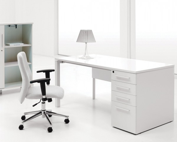 A white laquer finish desk.