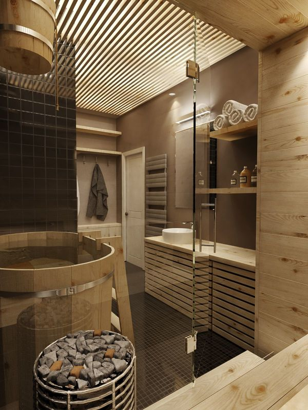 Modern feature rich house in moscow Bathroom design spa look