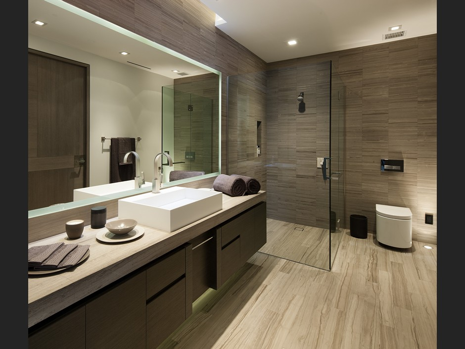 Luxurious modern bathroom interior design ideas for Salle de bain carrelage effet parquet