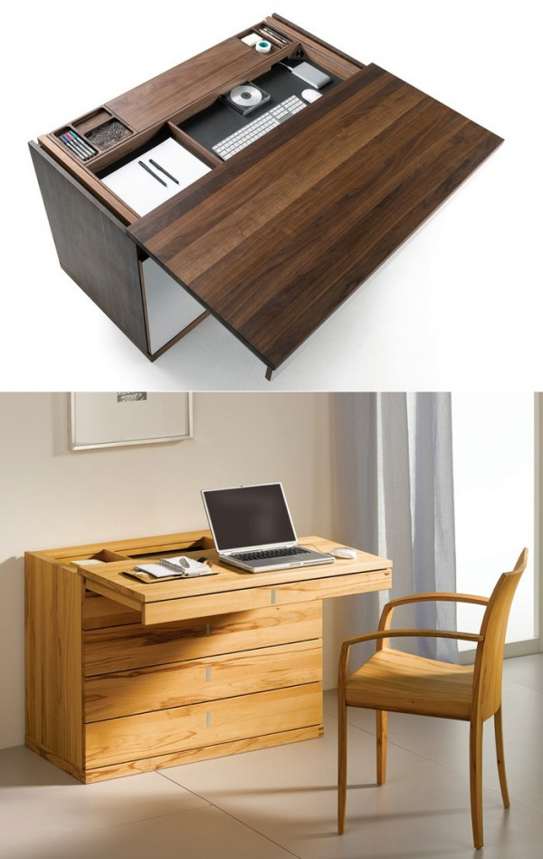 The Cubus writing desk appears as a simple sideboard at first glance, but a slide out top reveals another story.