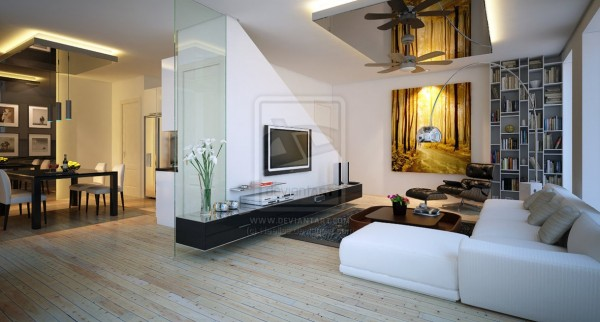 A glazed panel extends this living rooms wall space.
