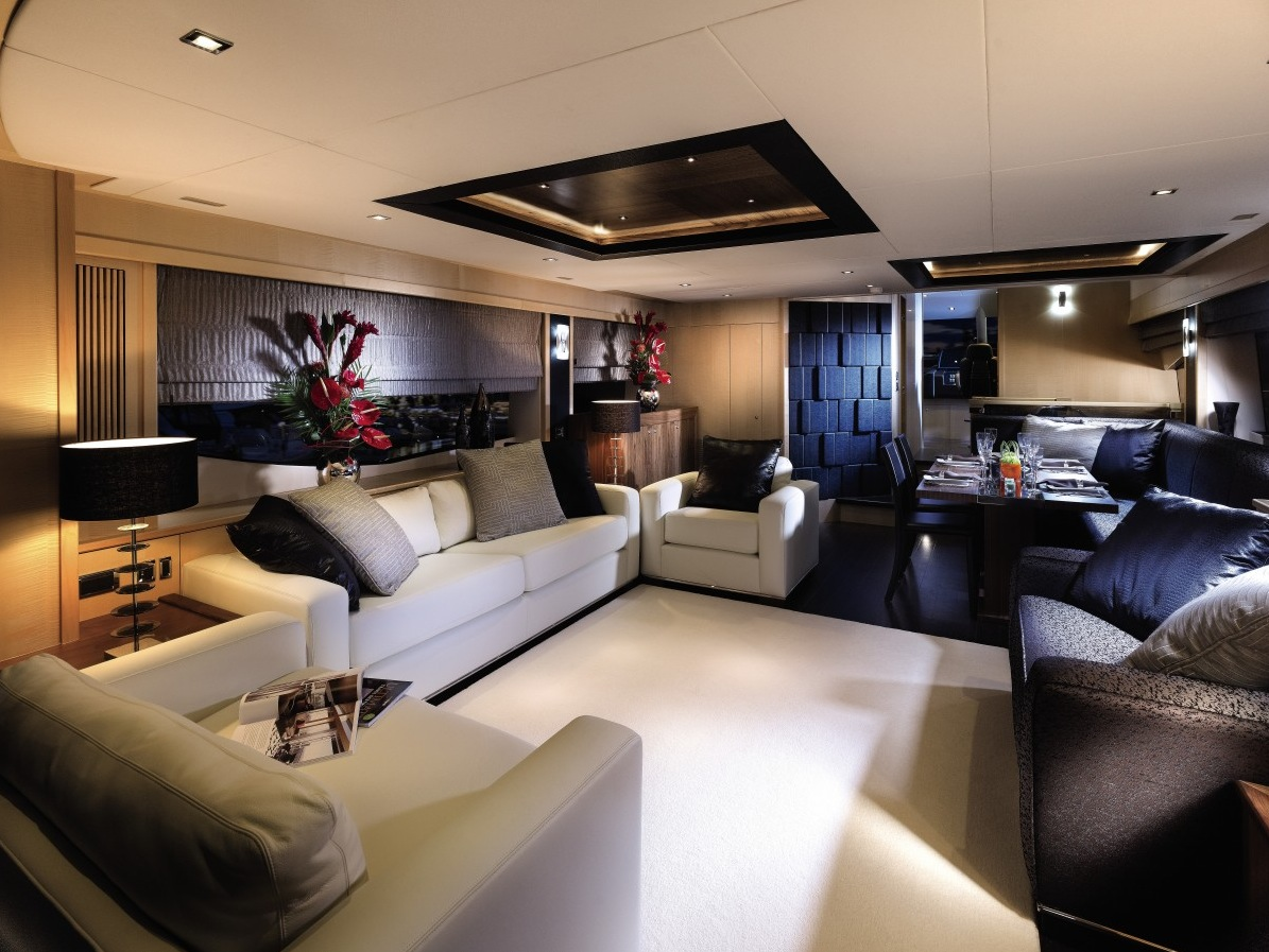 Cream Sofa - Luxury yacht interior design