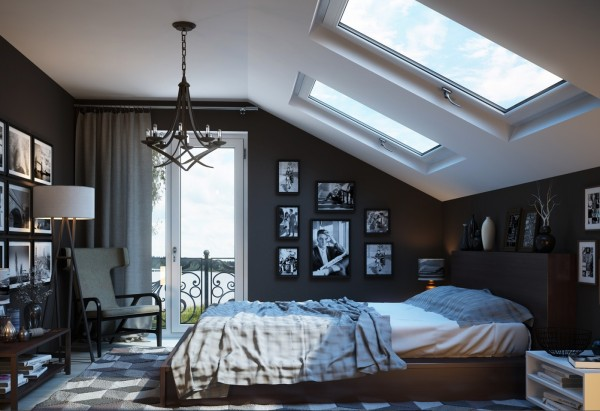 Velux windows can light up the space beneath a sloping ceiling.