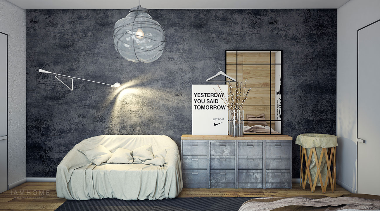 Industrial style bedroom interior design ideas for Bedroom ideas industrial