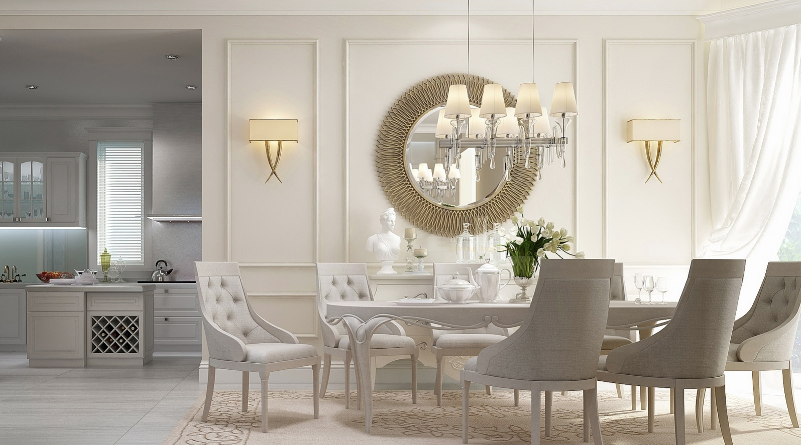 20 dining rooms visualized for Dining room table ornaments