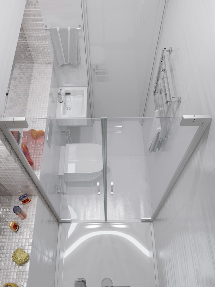 Sparkling white apartment with hideaway home offices for Very small baths for small bathrooms