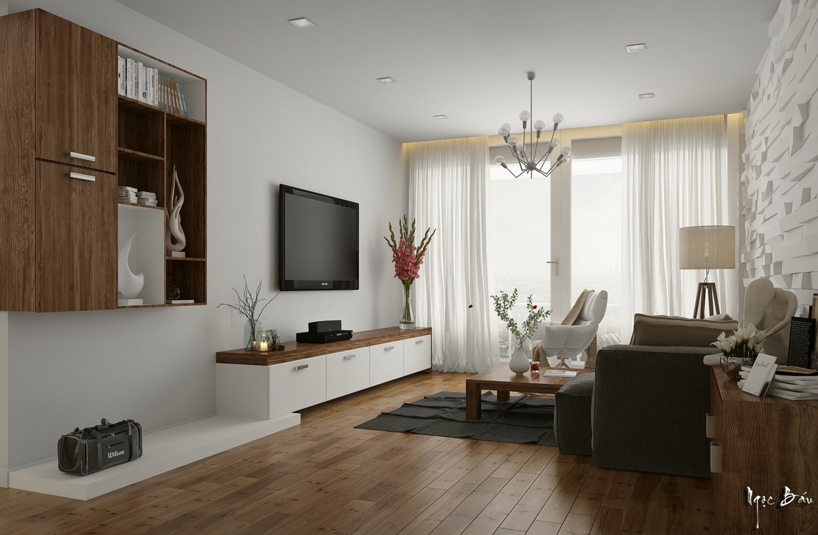 White Walnut Living Room Interior Design Ideas