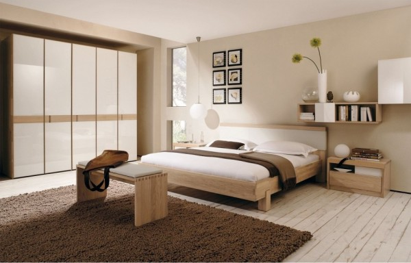 This modern bedroom translates the simplistic lines and warm natural palette of a traditionally zen space.