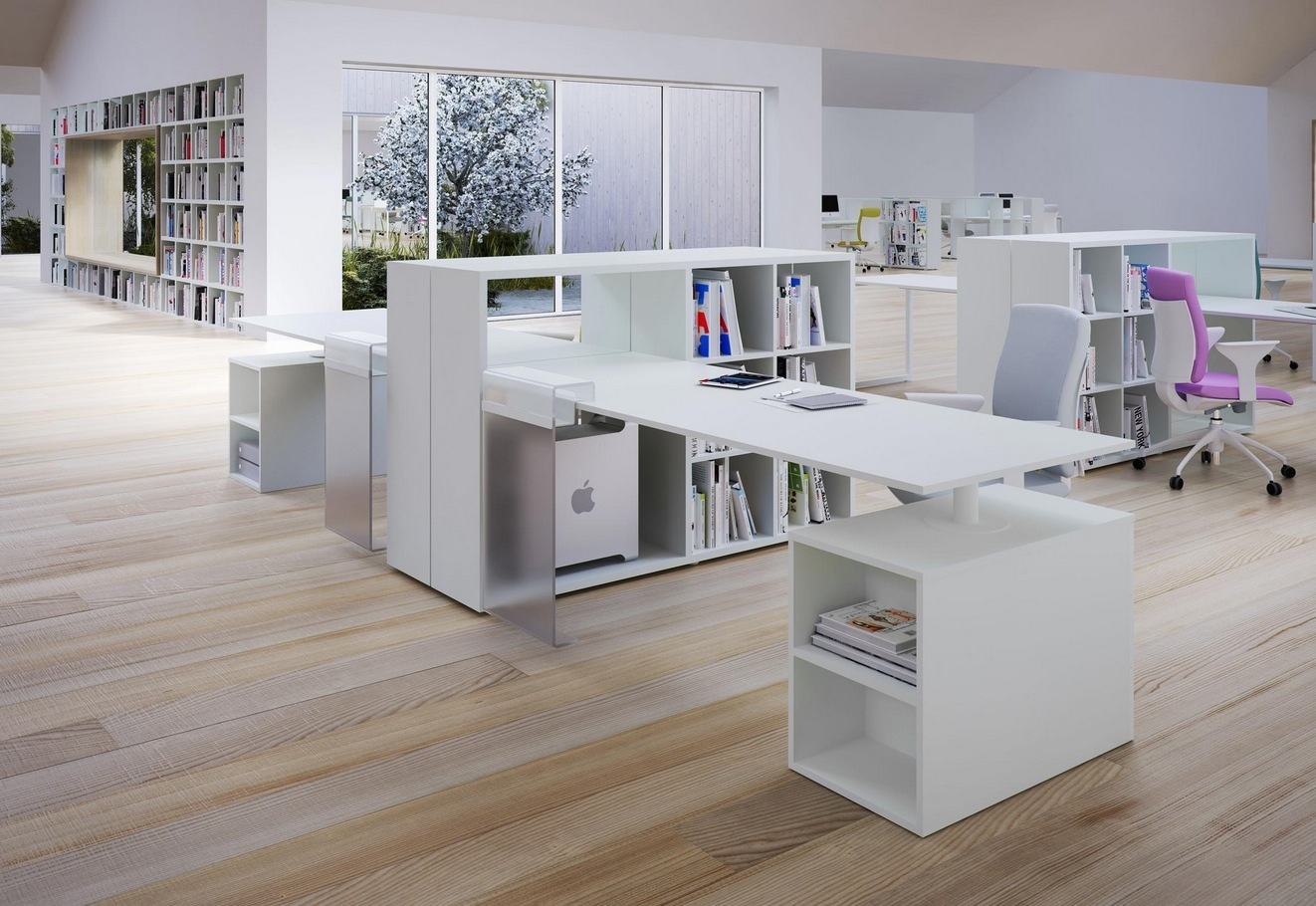 Delighful Modern White Office Desk Fancy On Inside Ideas