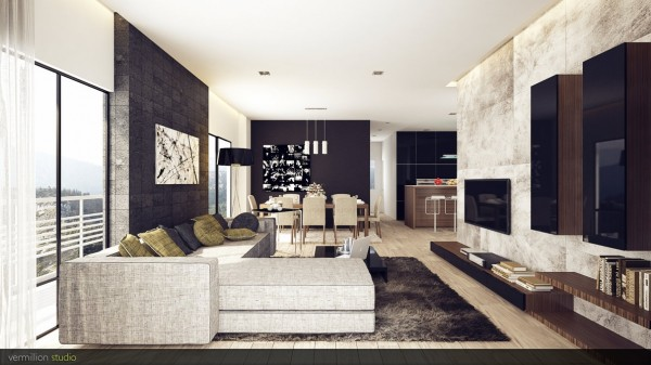 A sophisticated setup like this has a strong masculine feel. The entertainment storage units are sleek and streamlined with floating wall mounted units for an uncluttered look.