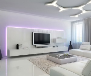 the glossy entertainment wall unit stands out with the addition of colorful leds at its border