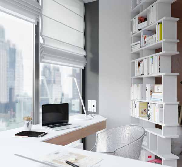 This home workspace has been created by adding a freestanding bookcase as a dividing wall. The shelves are open sided to allow natural light from the window to flow from the office area into the apartment.