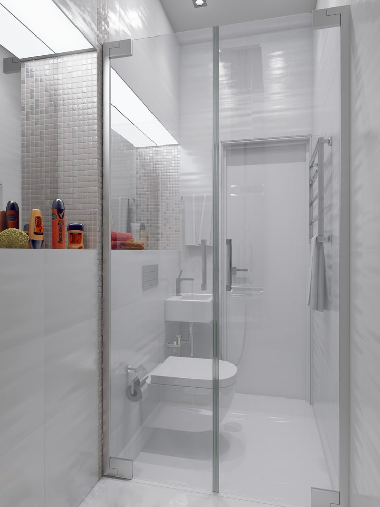Sparkling white apartment with hideaway home offices for Toilet room decor
