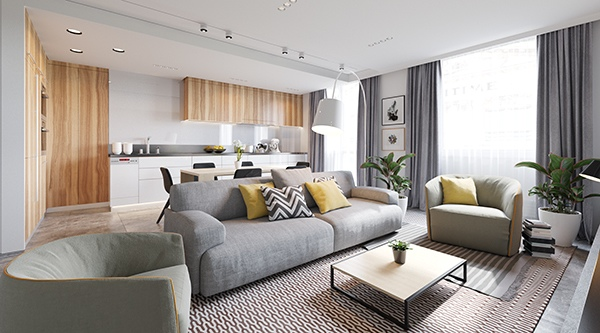 This soft color scheme takes on sunny accents in the form of cheerful yellow cushions.