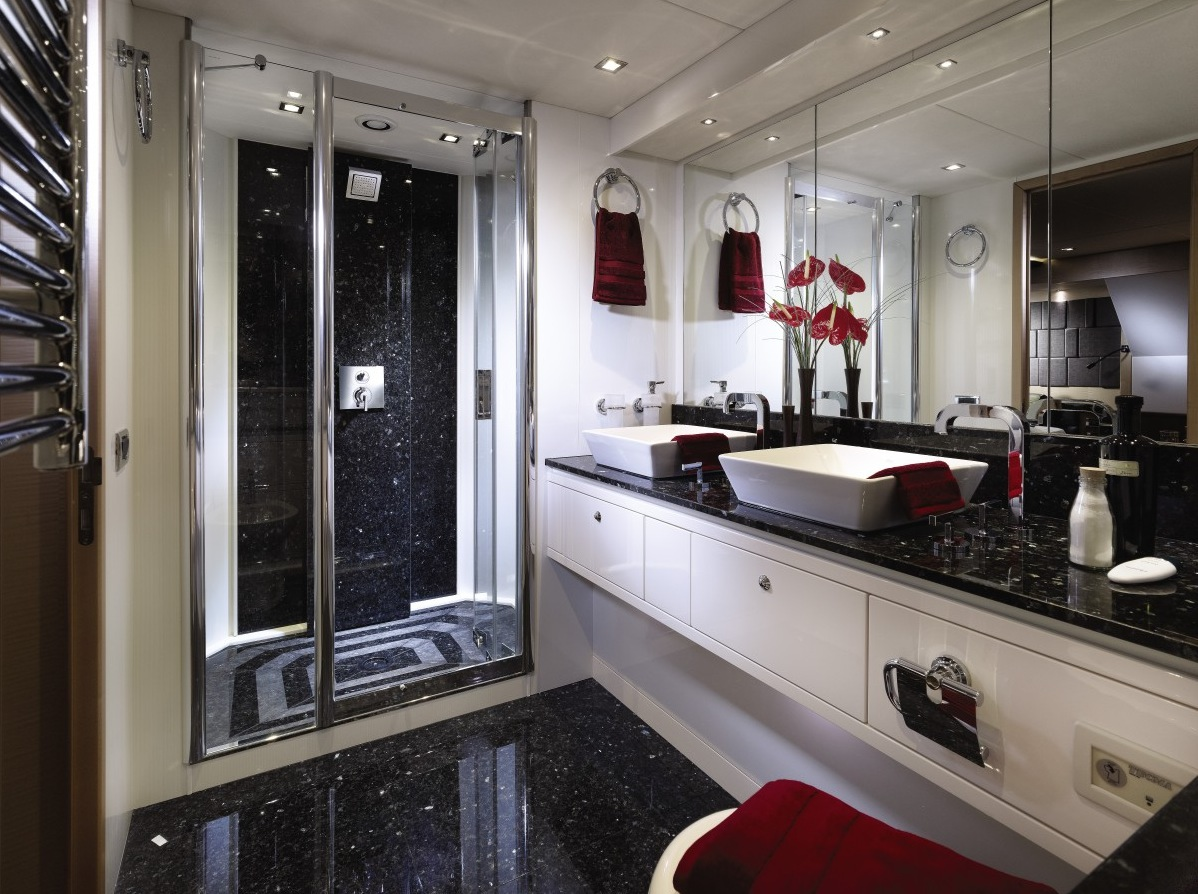 White Bathroom Vanity - Luxury yacht interior design