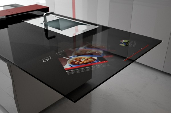 The Prisma is an interactive kitchen concept presented by Italian maker Toncelli in 2012, which incorporates a sliding cutting board and an integrated Samsung Galaxy tablet.