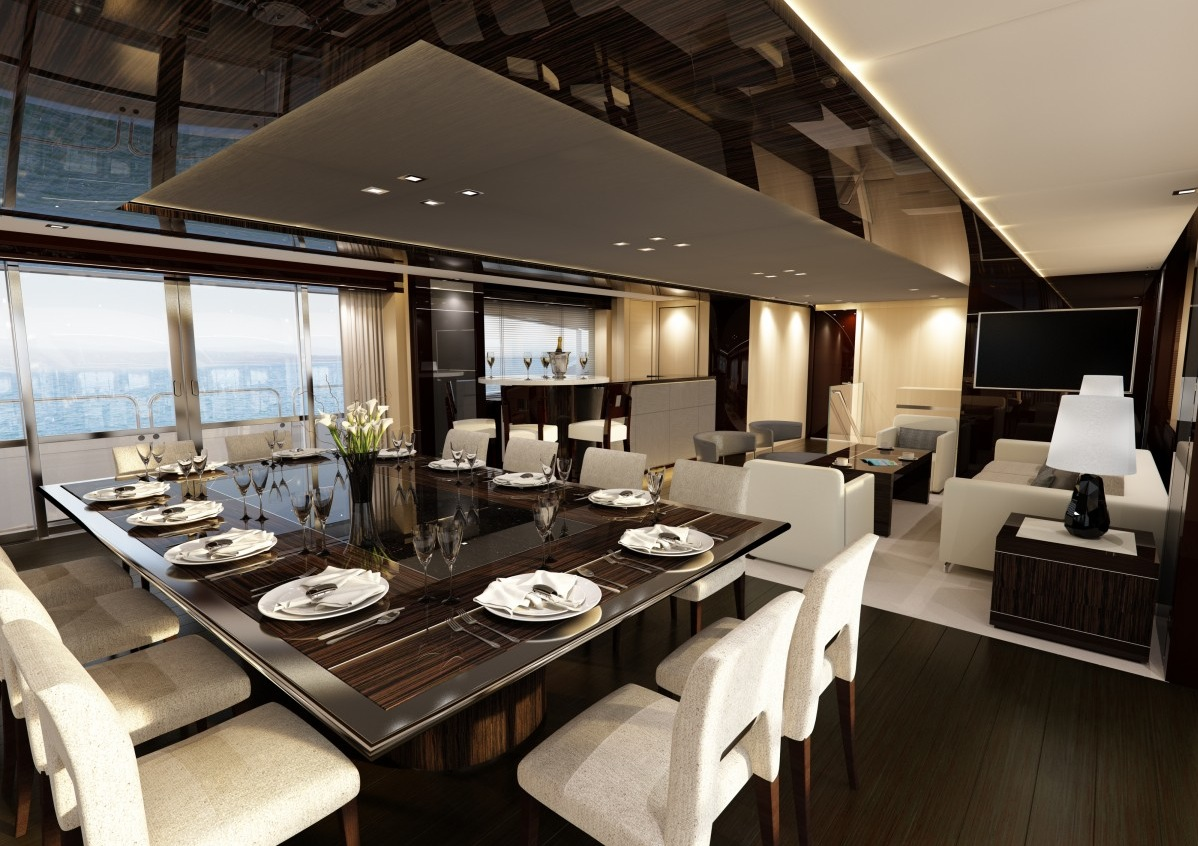 Yacht Dining Suite - Luxury yacht interior design