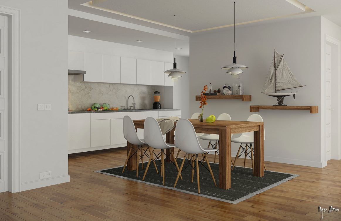White Kitchen With Dining Table - Interiors with natural and rustic accents